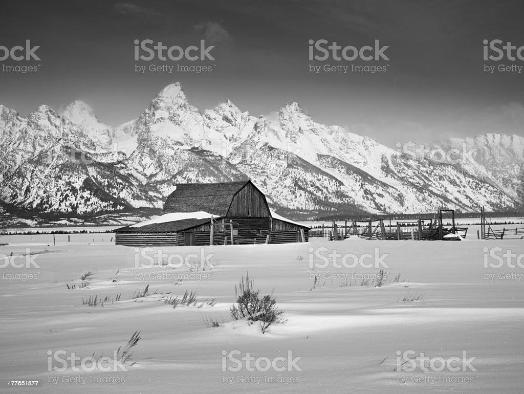 Moulton Barn, Winter Sunrise, Grand Teton National Park stock photo