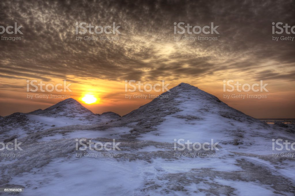 Mounds of Ice on a Lake Huron Shoreline in Winter stock photo