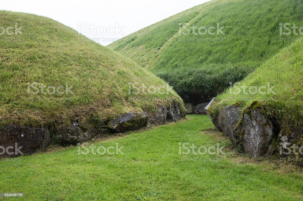 mounds of Knowth stock photo