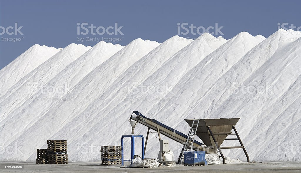 Mounds of salt from Salinas in Spain stock photo