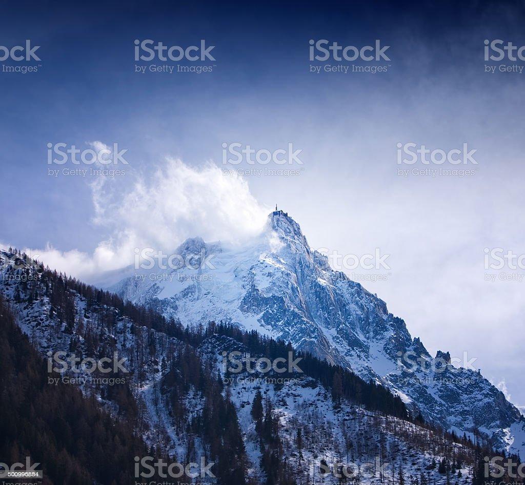 Mount Aguille du Midi, Mont Blanc massif, Alps, France. stock photo