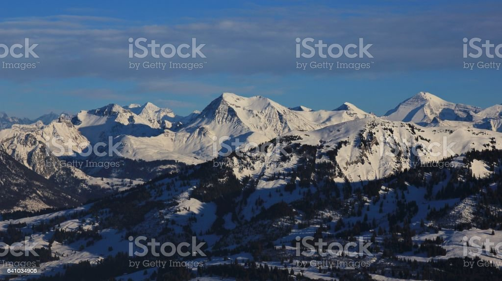 Mount Albristhorn and Rinderberg in winter stock photo