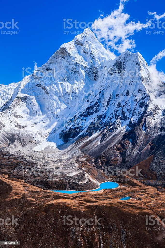Mount Ama Dablam 49MPix panoramic view - Himalaya Range royalty-free stock photo