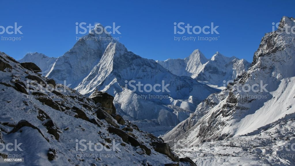 Mount Ama Dablam after new snowfall stock photo