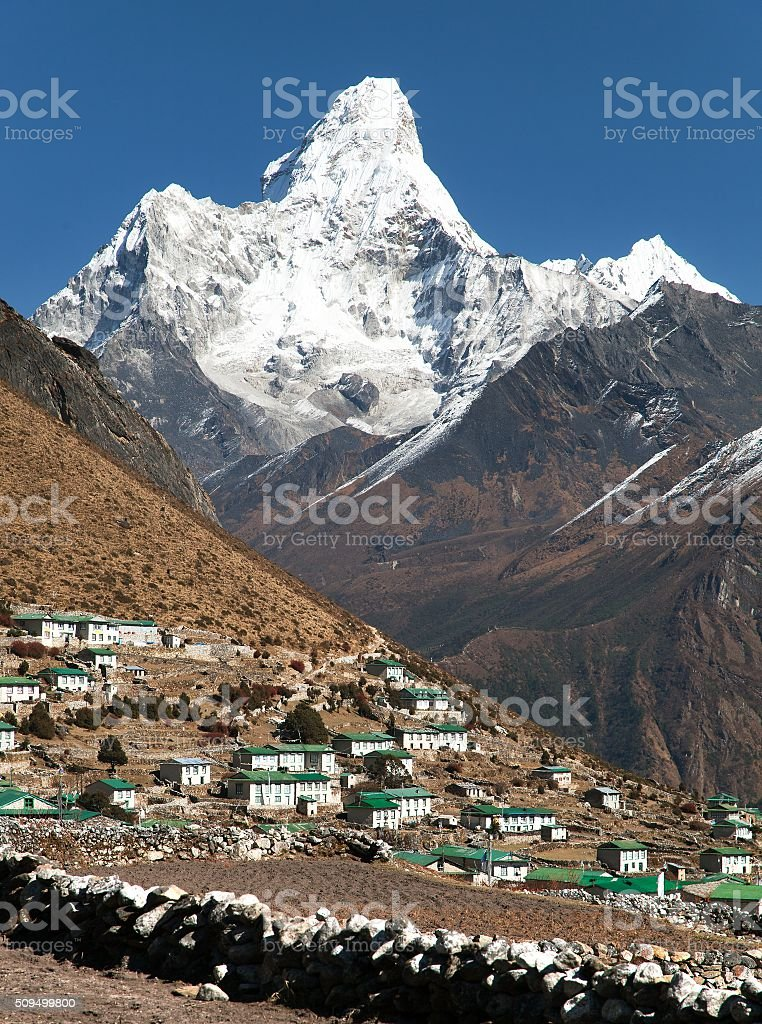 Mount Ama Dablam and Khumjung village stock photo