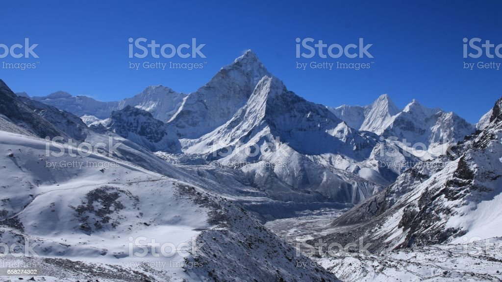 Mount Ama Dablam and other high mountains stock photo