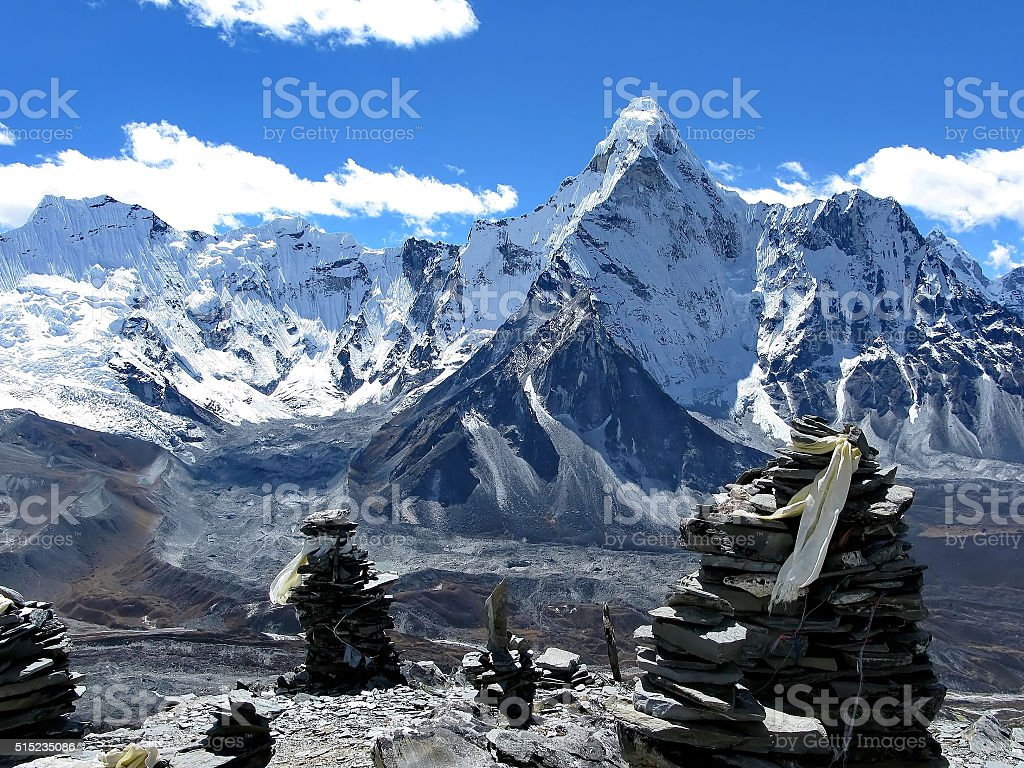 Mount Ama Dablam and the sightseeing platform of Chukhung Ri stock photo