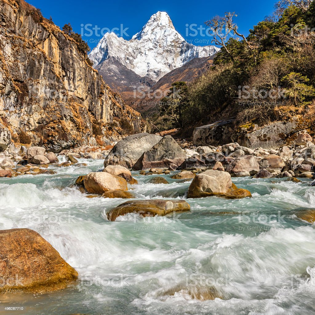 Mount Ama Dablam - Himalaya Range in Nepal stock photo
