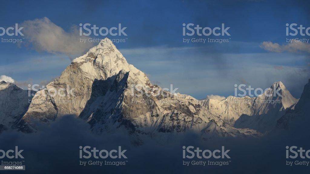 Mount Ama Dablam just before sunset stock photo