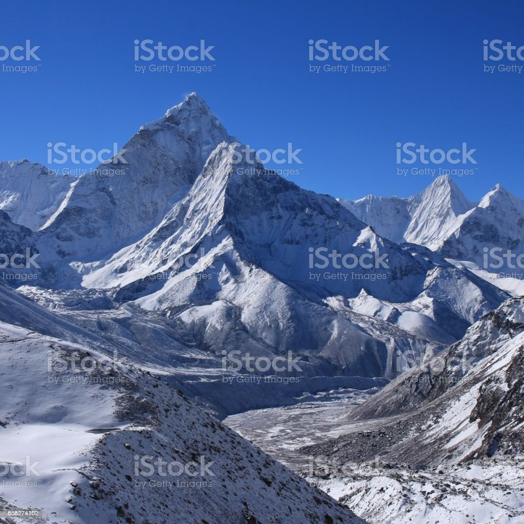 Mount Ama Dablam on a morning after new snowfall stock photo