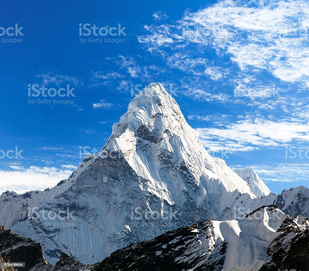 mount Ama Dablam on the way to Everest Base Camp stock photo