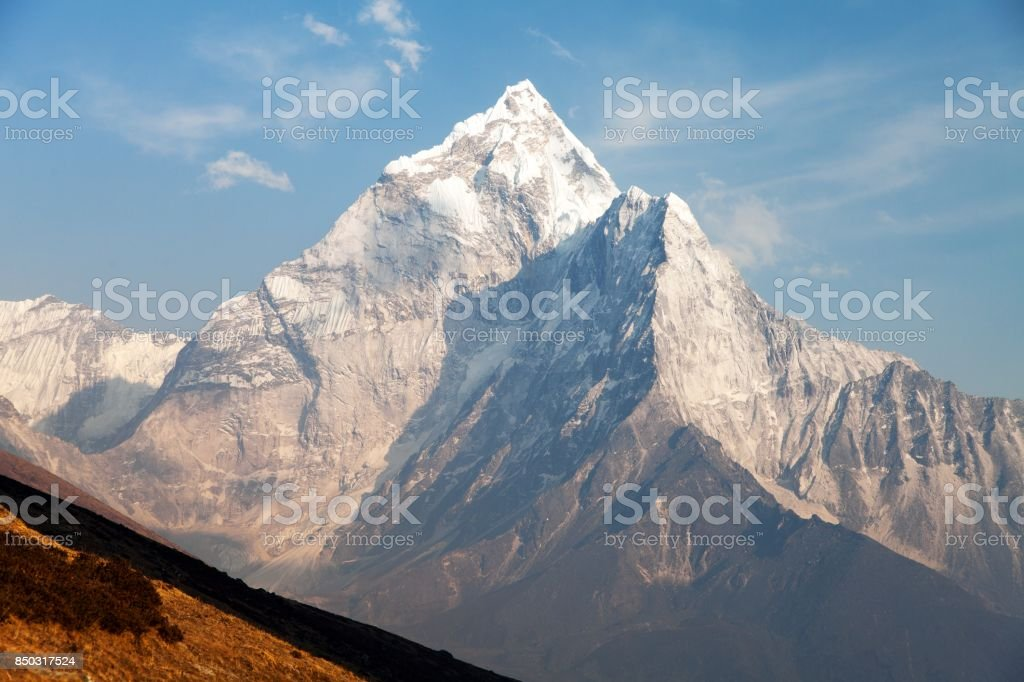 mount Ama Dablam on the way to Mount Everest Base Camp stock photo