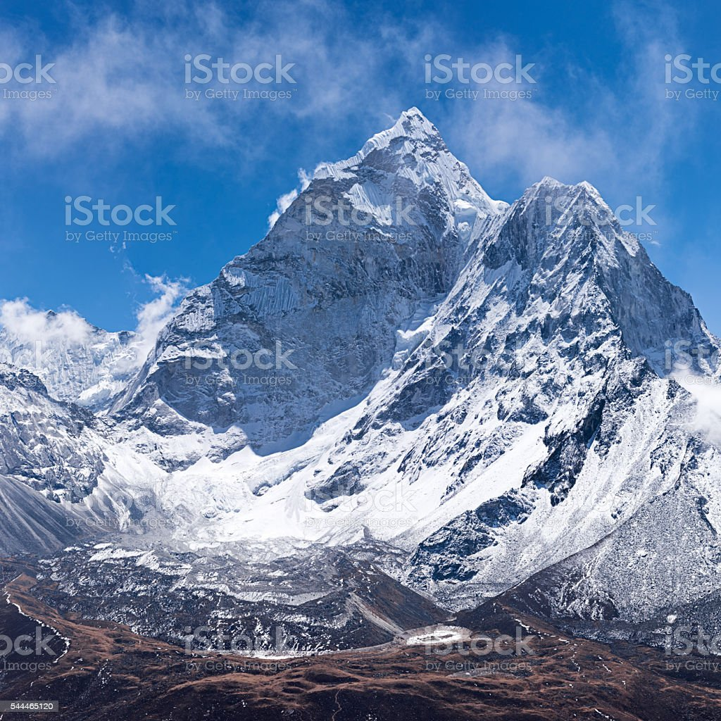 Mount Ama Dablam -probably the most beautiful mountain in Himalayas stock photo