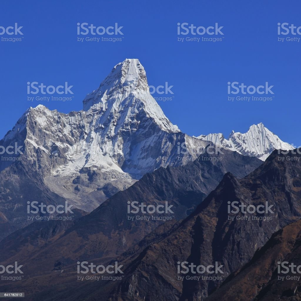 Mount Ama Dablam seen from Khumjung stock photo