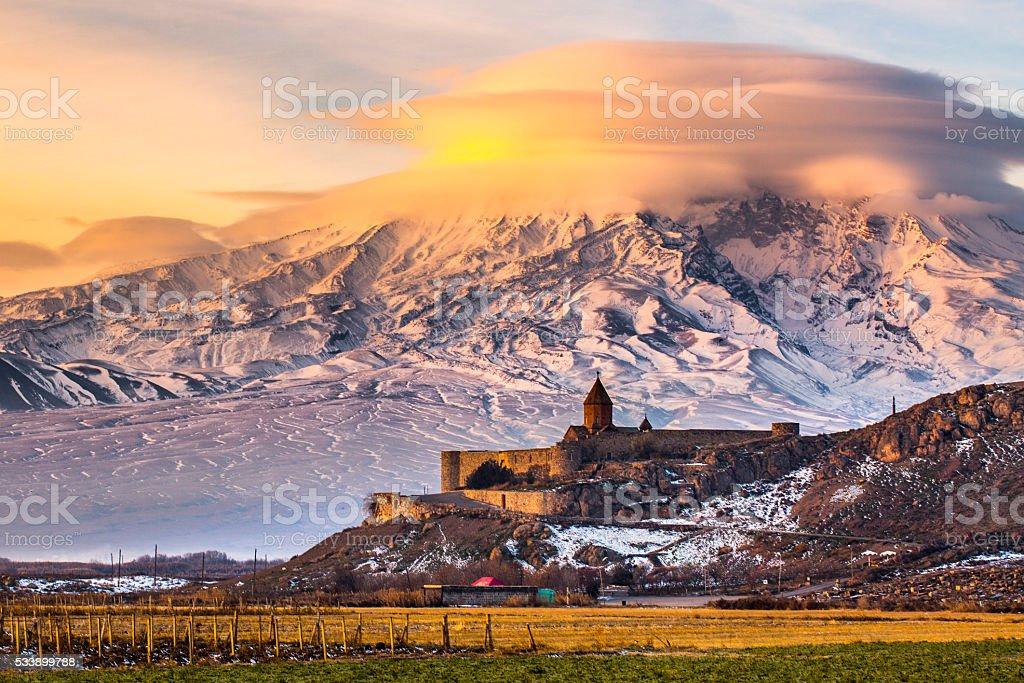 Mount Ararat from Armenia. stock photo