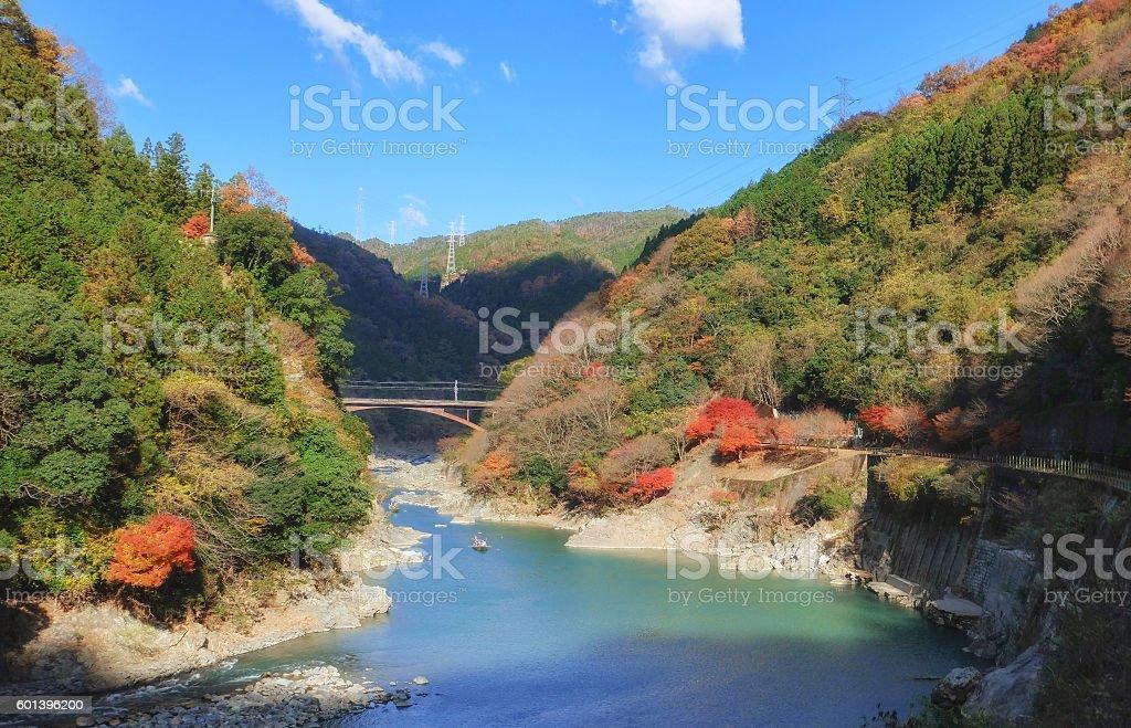 Mount Arashiyama and Oi river in Autumn season stock photo