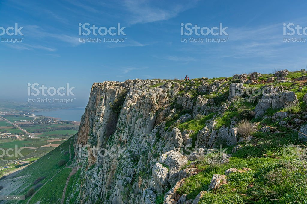 Mount Arbel  Cliff Cave Fortress stock photo