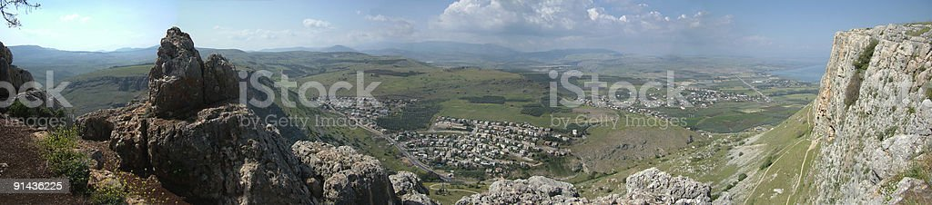 Mount Arbel Panorama stock photo