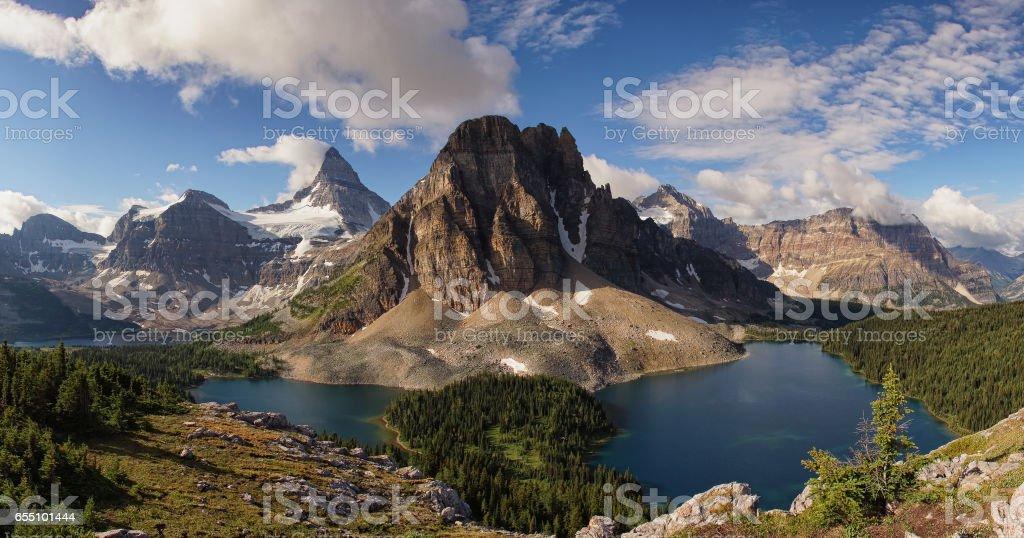 Mount Assiniboine and Sunburst Peak stock photo