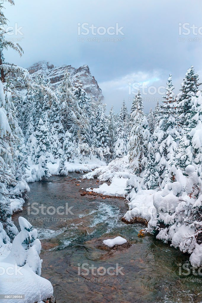 Mount Assiniboine Provincial Park in Canada stock photo