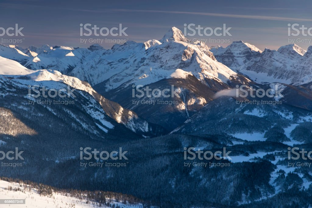 Mount Assiniboine Winter Alpenglow stock photo