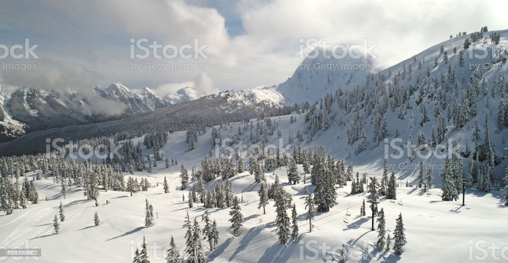 Mount Baker Ski Area Aerial View stock photo
