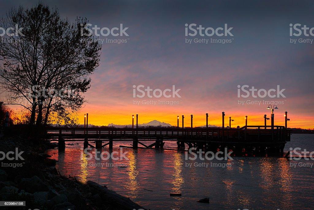 Mount Baker Sunrise, Fraser River stock photo