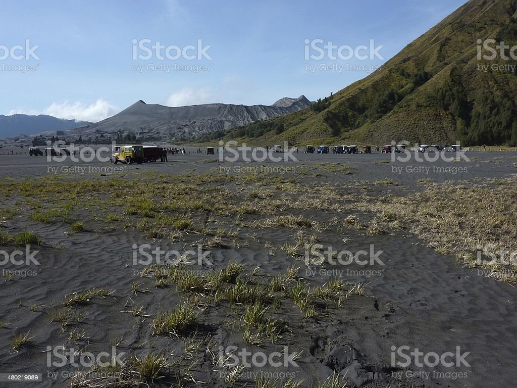Mount Bromo and sea of black sand, East Java stock photo