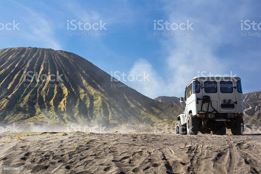 Mount Bromo blue sky day time nature landscape background stock photo