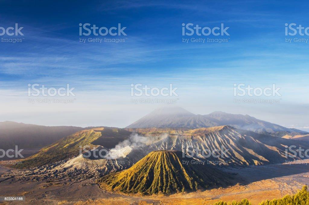 Mount Bromo blue sky day time nature landscape background stock photo