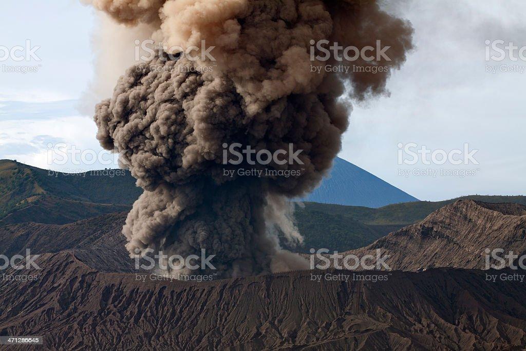 Mount Bromo Emits thick smoke during eruption royalty-free stock photo