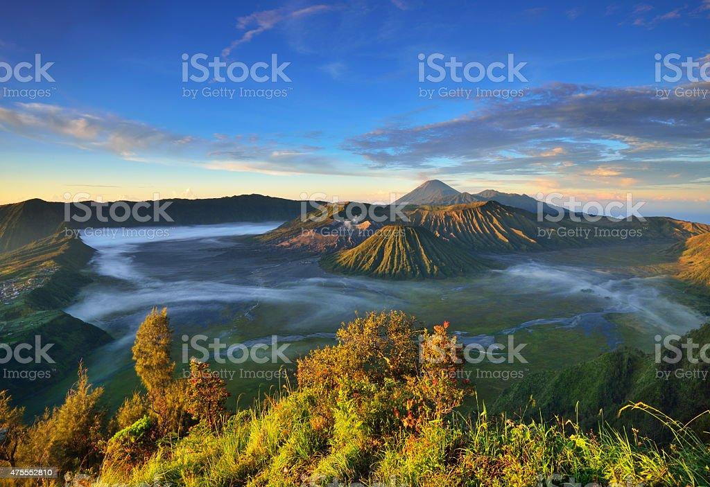 Mount Bromo volcanic complex during sunrise stock photo