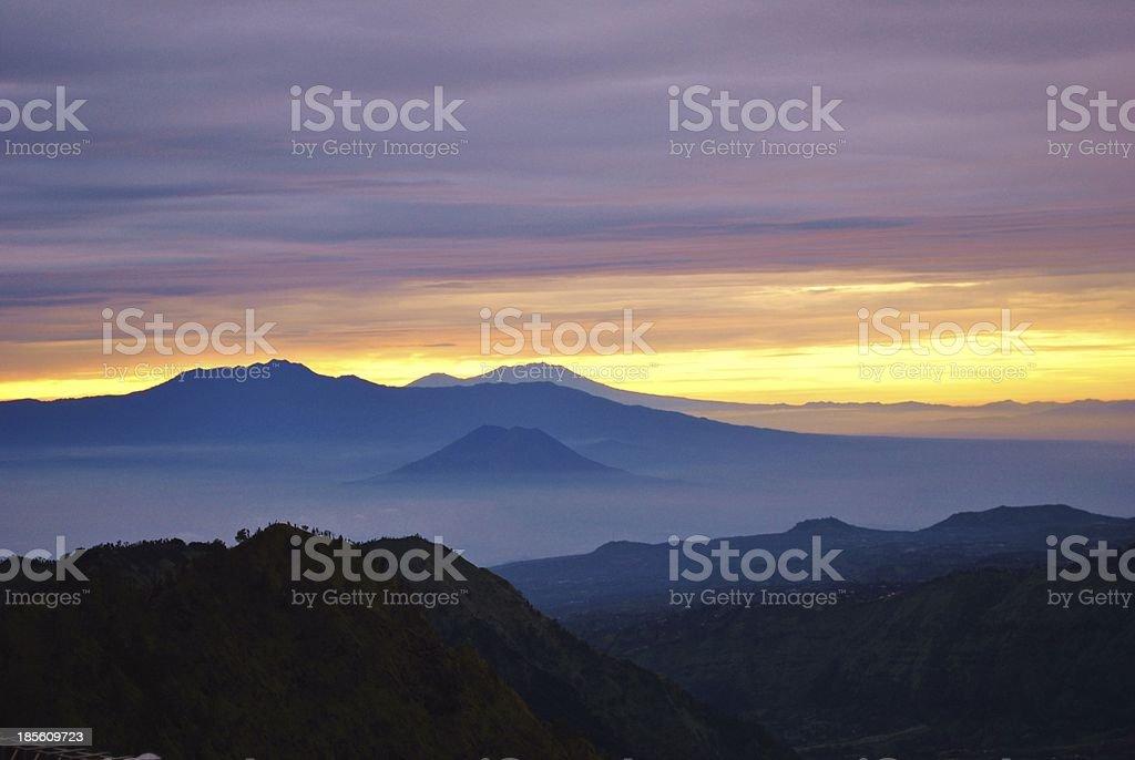 Mount Bromo Volcano at sunrise, Indonesia stock photo