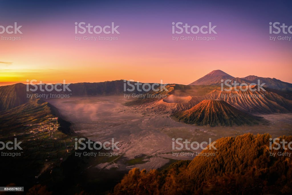 Mount Bromo volcano (Gunung Bromo) at sunrise with colorful sky background in Bromo Tengger Semeru National Park, East Java, Indonesia. stock photo
