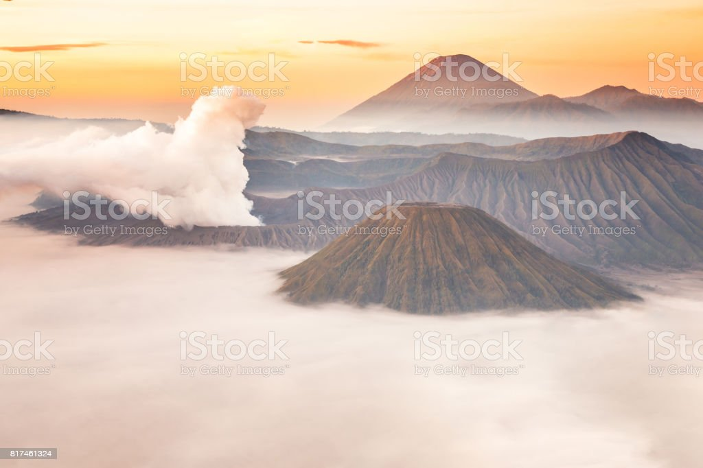 Mount Bromo volcano, Batok and Semeru (Mt.) sunrise from viewpoint on Mount Penanjakan stock photo