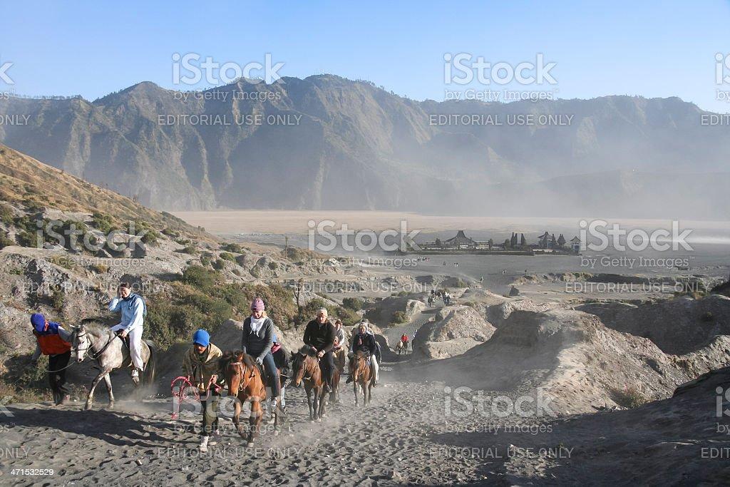 mount bromo volcano horseback tour royalty-free stock photo