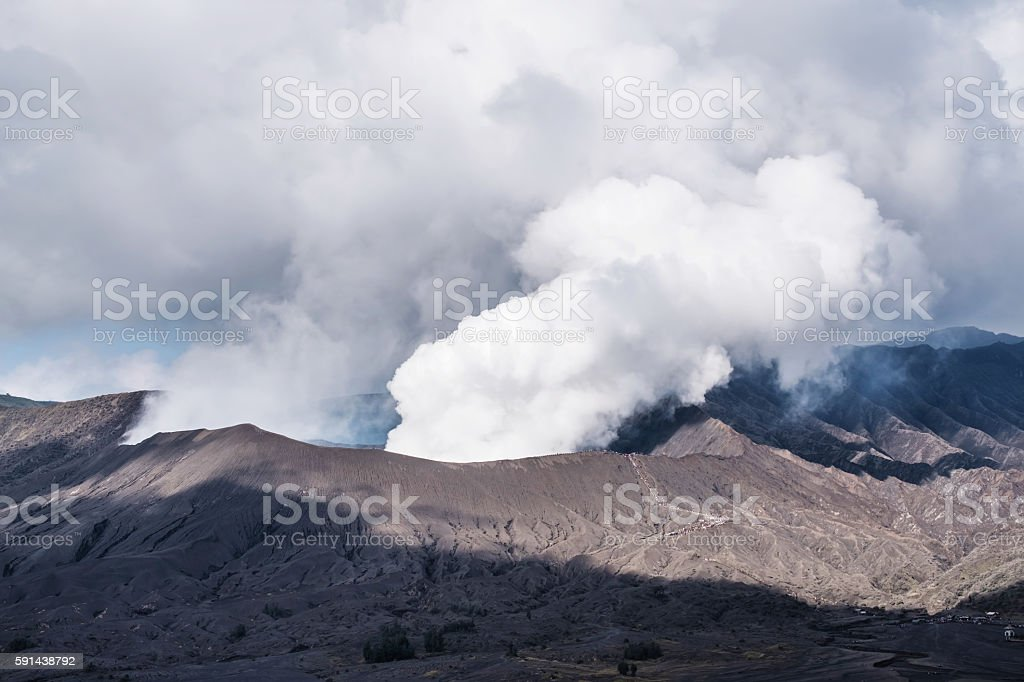 Mount Bromo volcano, in Indonesia stock photo