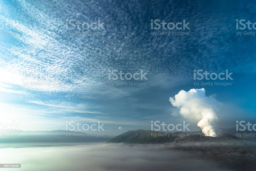 Mount Bromo volcanoes with cloud. Java, Indonesia stock photo