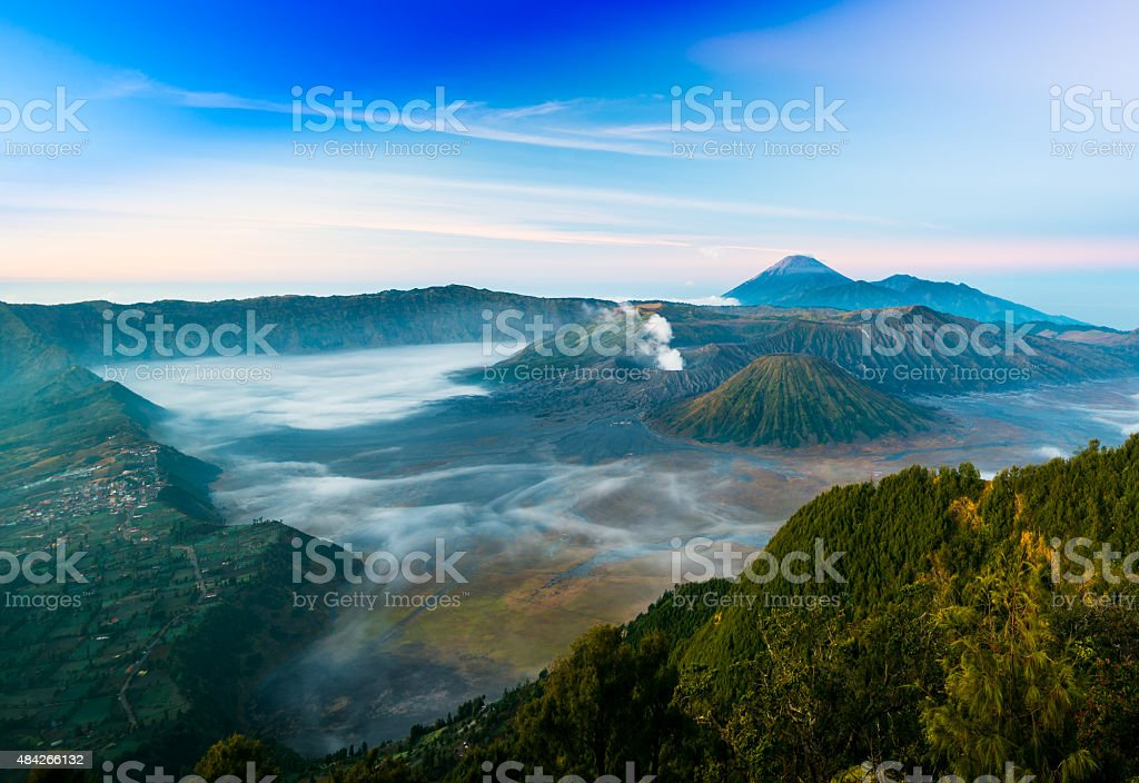 Mount Bromo with fog in the morning time stock photo