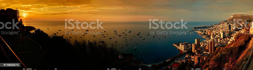 Monte Carlo Sunrise Panorama stock photo