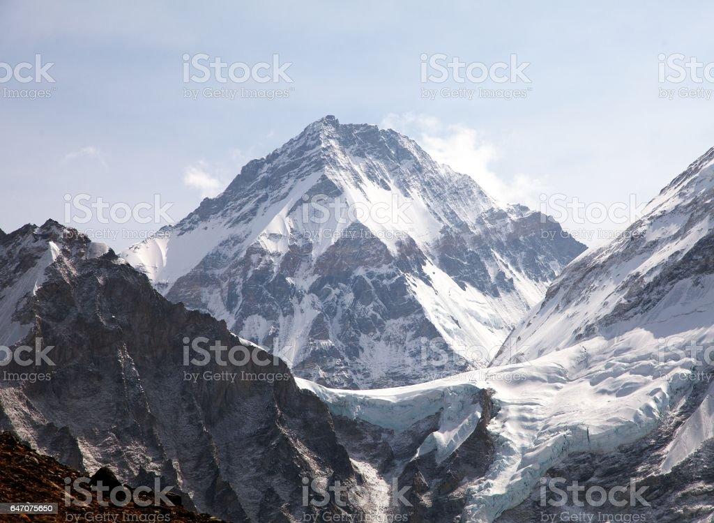 Mount Changtse, Tibetan mount near mt. Everest, Nepal stock photo