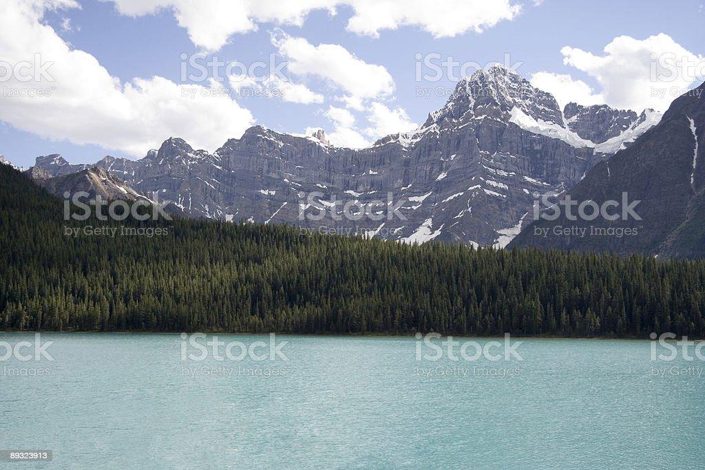 mount chephren and waterfowl lake stock photo