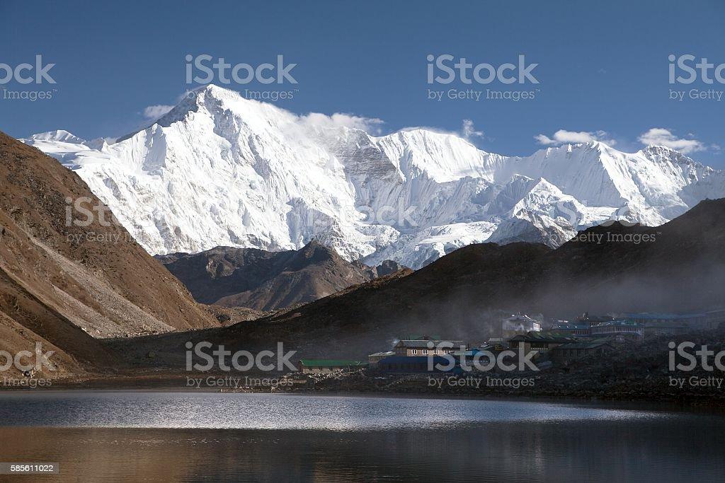 mount Cho Oyu mirroring in Gokyo lake or Dudh Pokhari stock photo