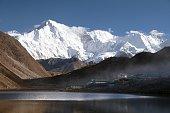 mount Cho Oyu mirroring in Gokyo lake or Dudh Pokhari