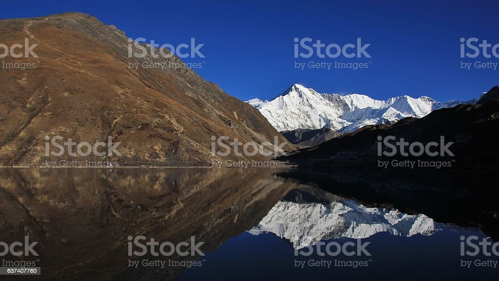 Mount Cho Oyu mirroring in Gokyo lake stock photo