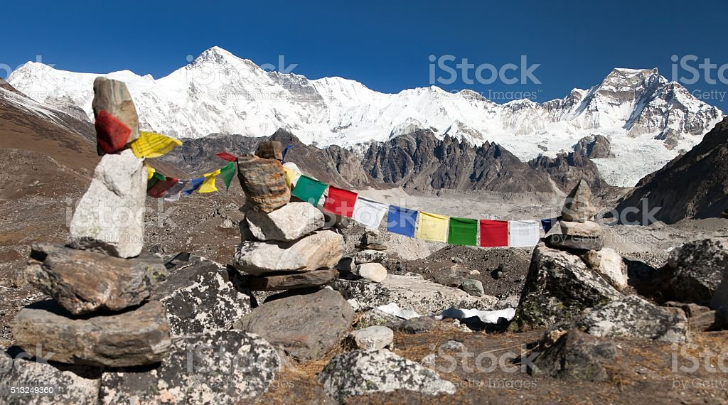 Mount Cho Oyu with prayer flags stock photo