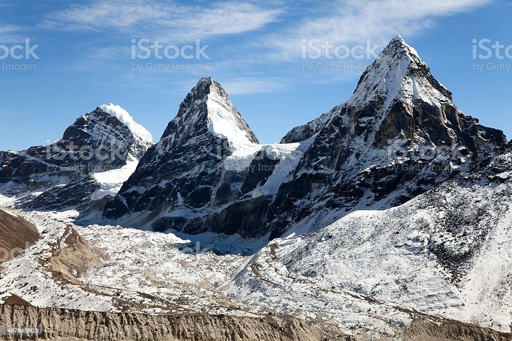 mount Cholo, Kangchung peak and Nirekha peak stock photo
