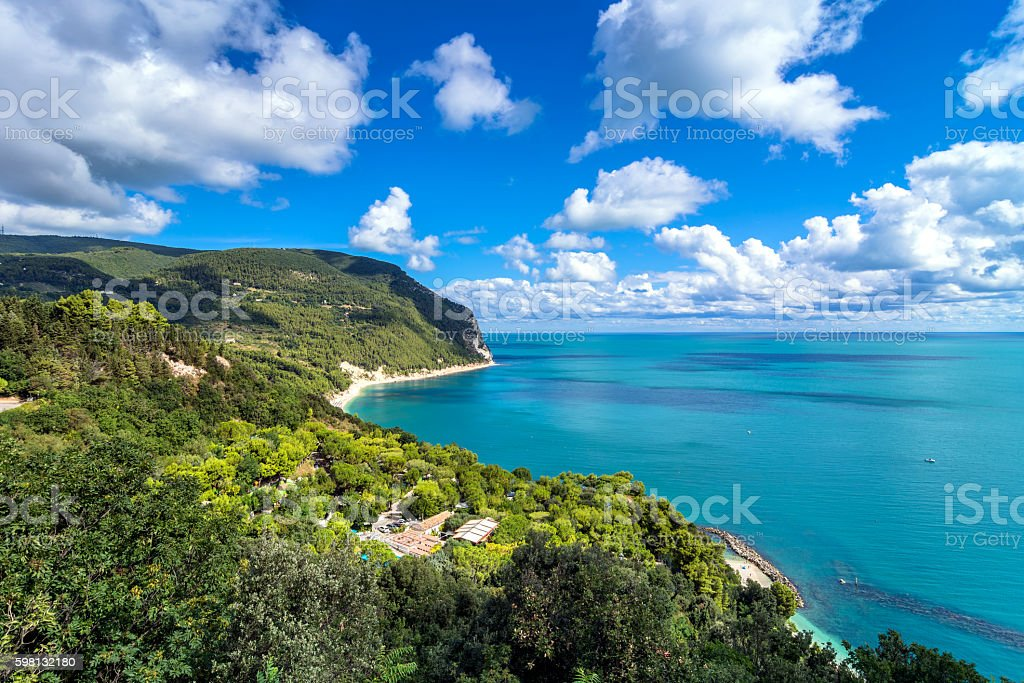 Mount Conero national park coastline in Sirolo, Italy stock photo