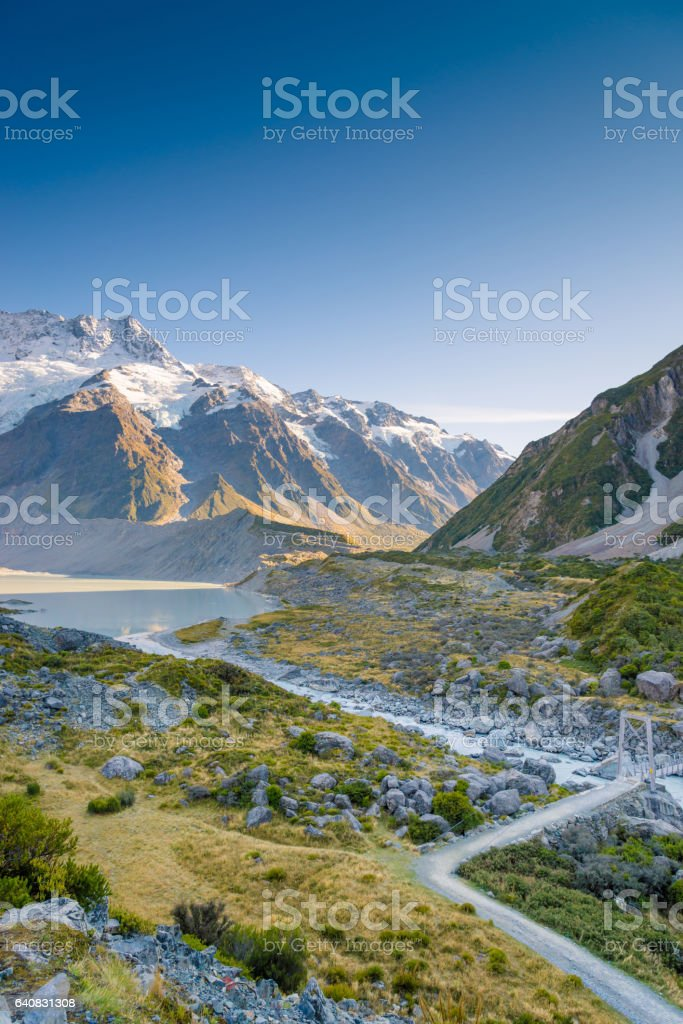 Mount Cook and Lake Matheson New Zealand stock photo