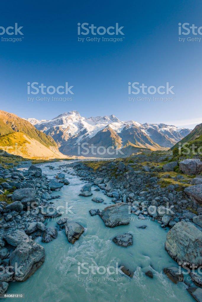 Mount Cook and Lake Matheson New Zealand stock photo